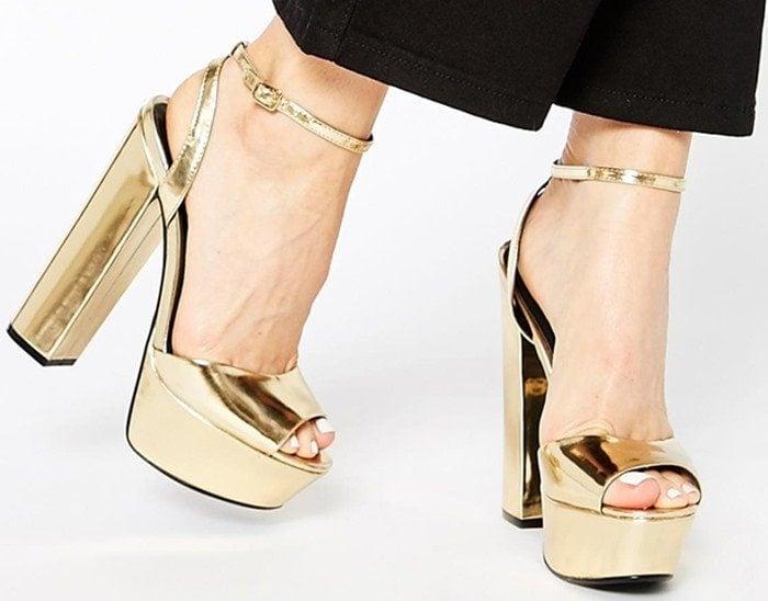 KG By Kurt Geiger Hero Gold Platform Sandals