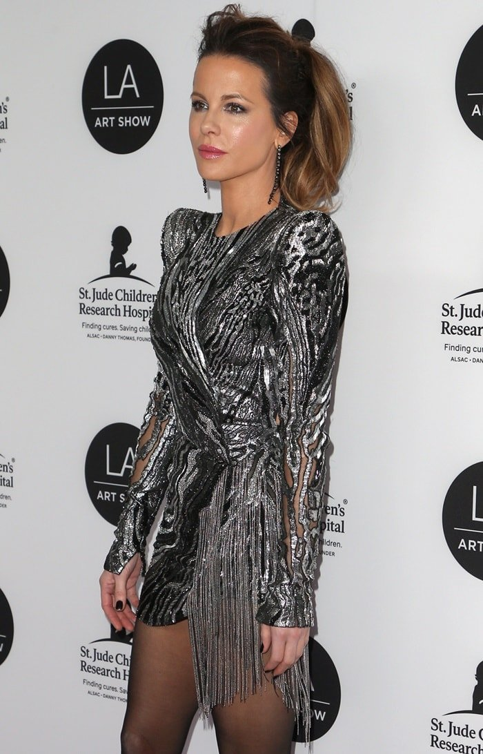 Kate Beckinsale's gunmetal jacquard dress at the 2019 LA Art Show's Opening Night Gala held at the Los Angeles Convention Center in Los Angeles on January 23, 2019