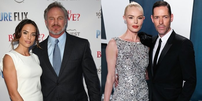 Brian Bosworth, pictured with his second wife Morgan Leslie Heuman, is not the father of Kate Bosworth, who's pictured with her husband Michael Polish