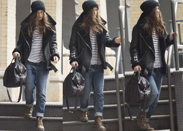 Kiera Knightley wears rolled jeans and an oversized leather jacket as she leaves her Broadway debut
