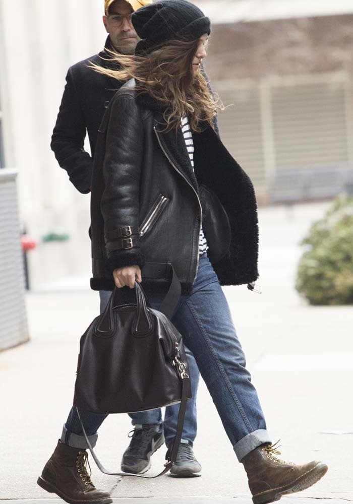 Kiera Knightley finishes off her casual look with a pair of Dr. Martens boots