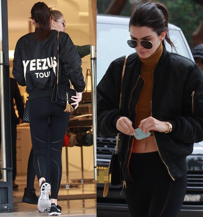 Kendall-Jenner-midriff-crop-top-leggings-yeezus-jacket