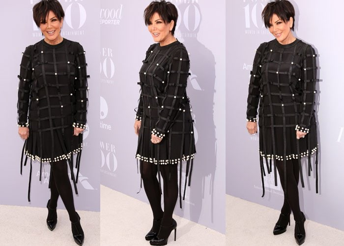 Kris Jenner wears a fringe-embellished Anna K dress on the red carpet of the Women in Entertainment Breakfast