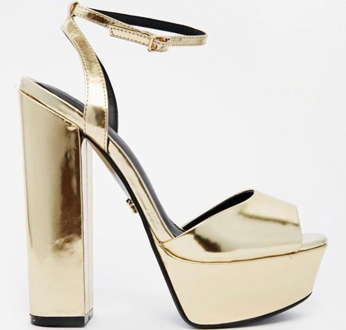 Gold Metallic Kurt Geiger Hero Platform Sandals