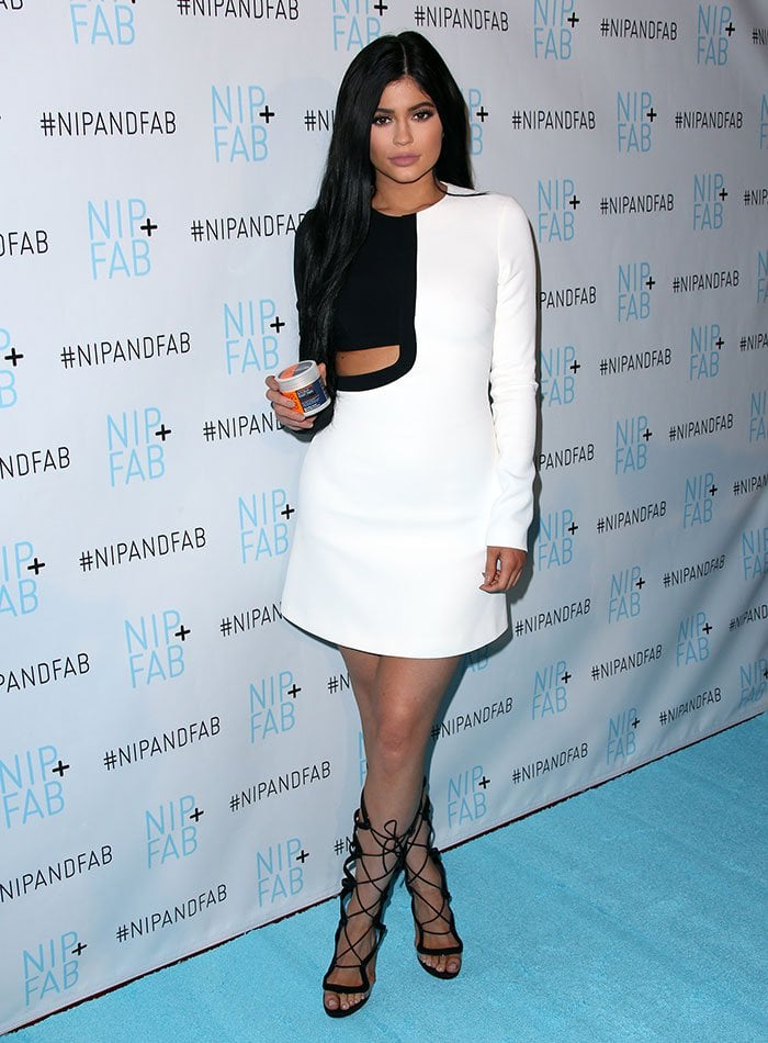 Kylie Jenner wears a black-and-white David Koma dress at a Nip + Fab event