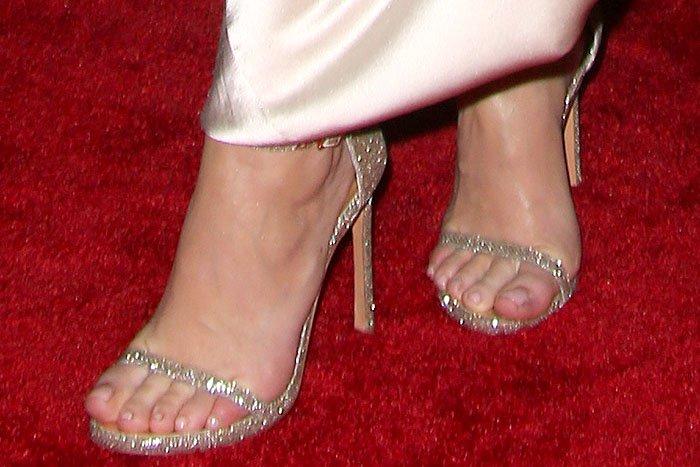 "Kylie Jenner's sexy feet in Stuart Weitzman ""Nudist"" sandals"
