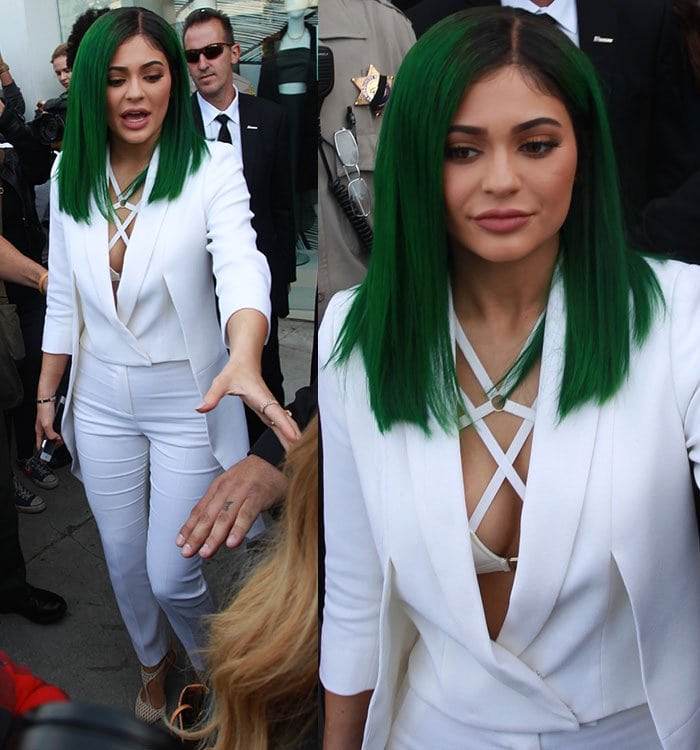Kylie-Jenner-green-hair-cleavage-white-coat-pants