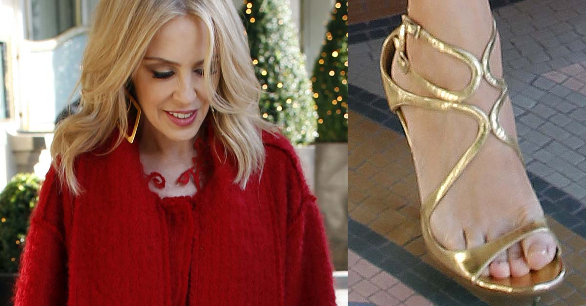 48206b7b747 Kylie Minogue in Red Dress and Gold Jimmy Choo