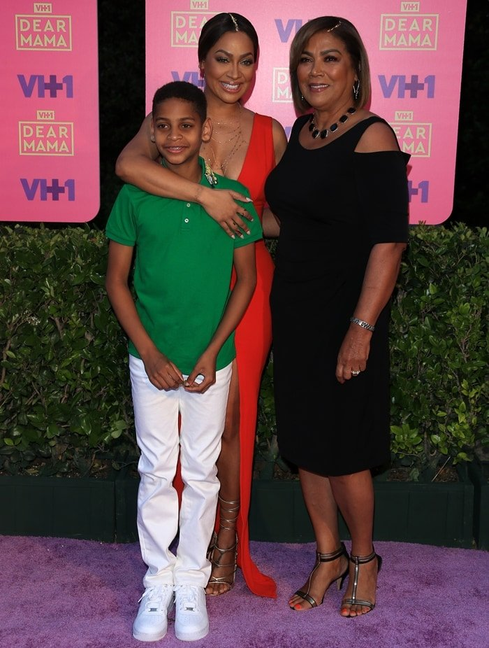 La La Anthony, her son Kiyan Carmelo Anthony, and her Nuyorican mother Carmen Surillo arrive at VH1's 2nd Annual 'Dear Mama: An Event To Honor Moms'
