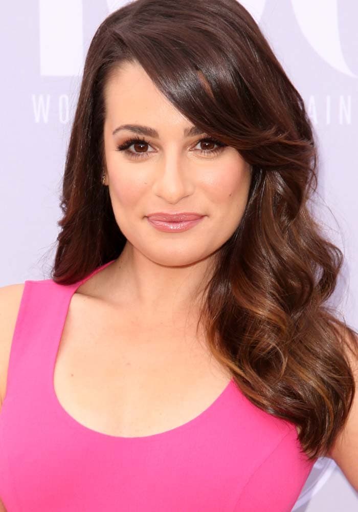 """Lea Michele wears her hair down at the 24th annual """"Women in Entertainment Breakfast"""" hosted by The Hollywood Reporter"""