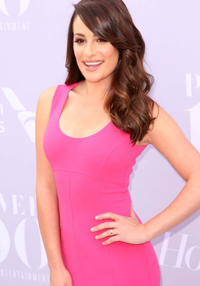 Lea Michele poses in a Michael Kors dress
