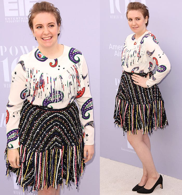 Lena Dunham shows off her quirky sense of style at the Women in Entertainment Breakfast