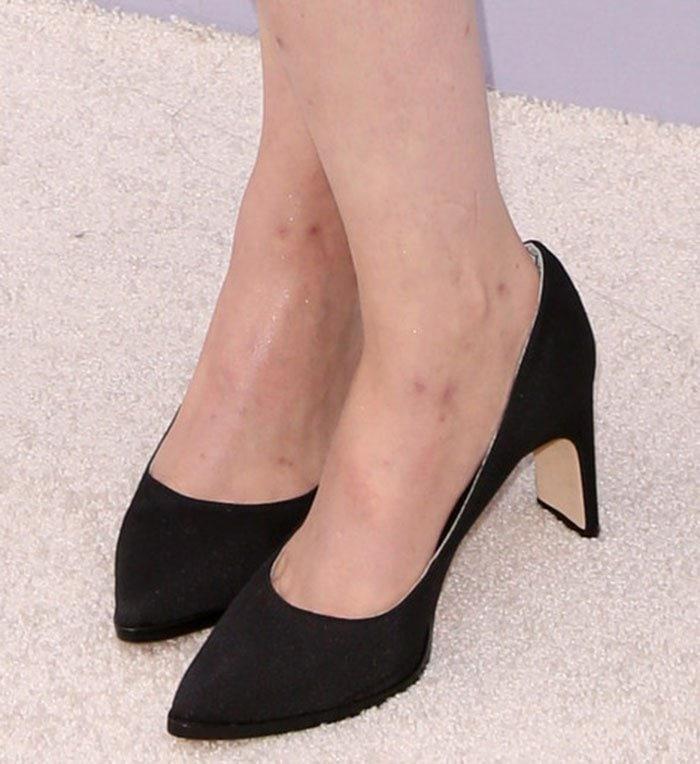 "Lena Dunham's feet in ""Royale"" heels"