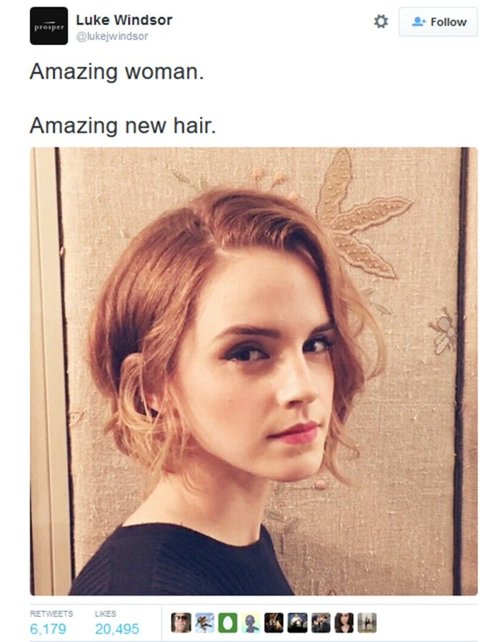 Publicist Luke Windsor shares a picture of Emma Watson's short bob