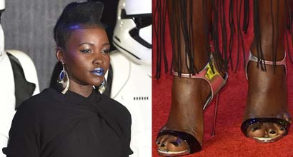 af48e758a0f Lupita Nyong o Dons Metallic Blue Lipstick at the Star Wars London Premiere  in Giuseppe Zanotti Sandals