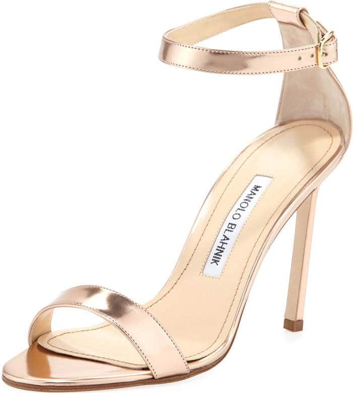 Manolo Blahnik Chaos Metallic Sandal in Rose Gold