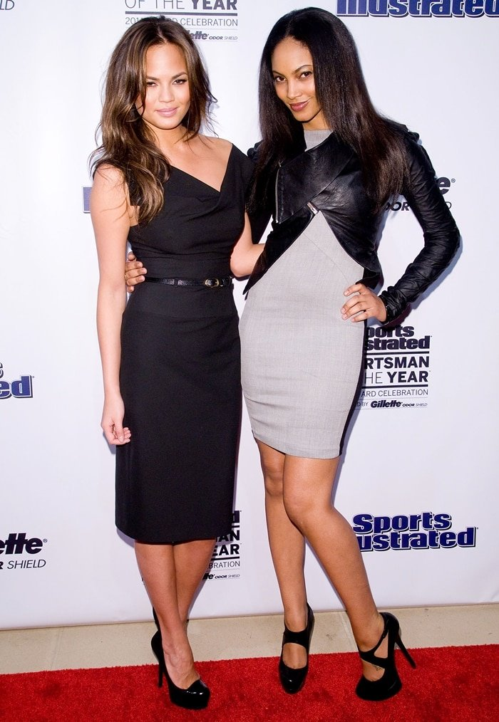 Models Chrissy Teigen and Ariel Meredith attend the 2011 Sports Illustrated Sportsman of the Year award presentation