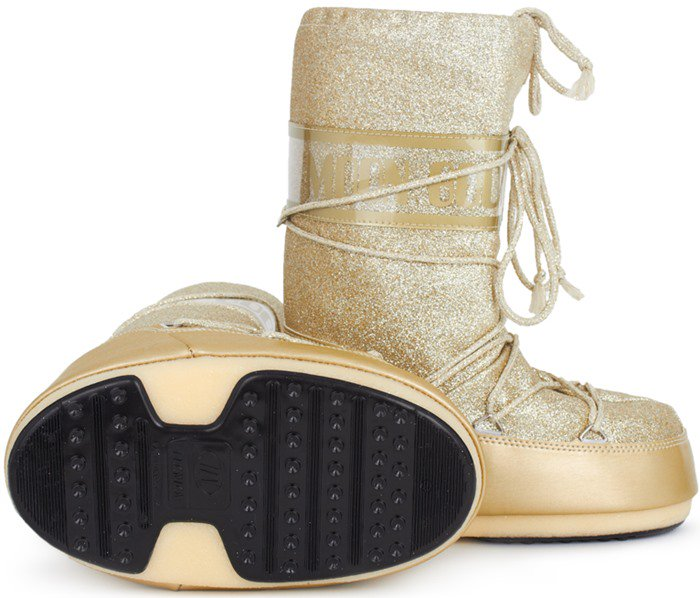 Moon Boot Gold Glitter Delux Moon Boots Side