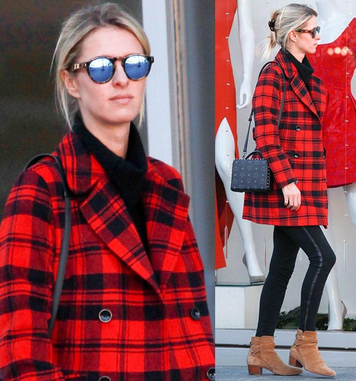 Nicky-Hilton-plaid-red-coat-black-pants