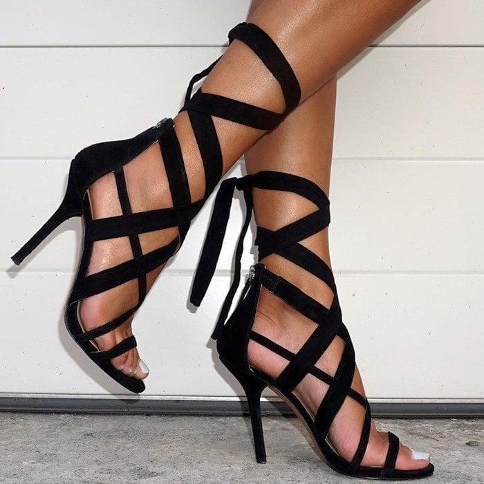 Nine West Rustic Fabric Dress Strappy Heels