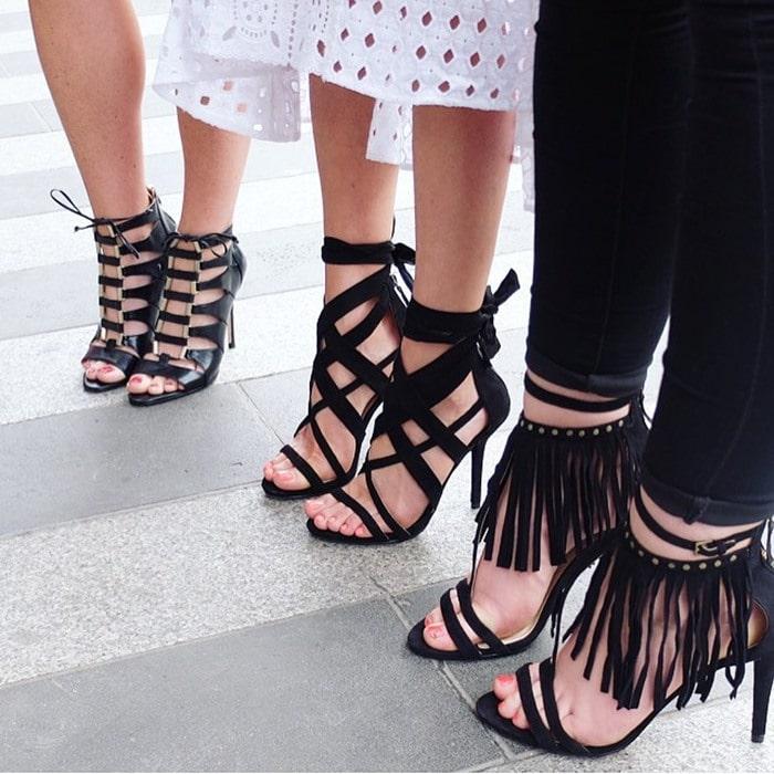 Nine West Rustic Fabric Stiletto Strappy Heels