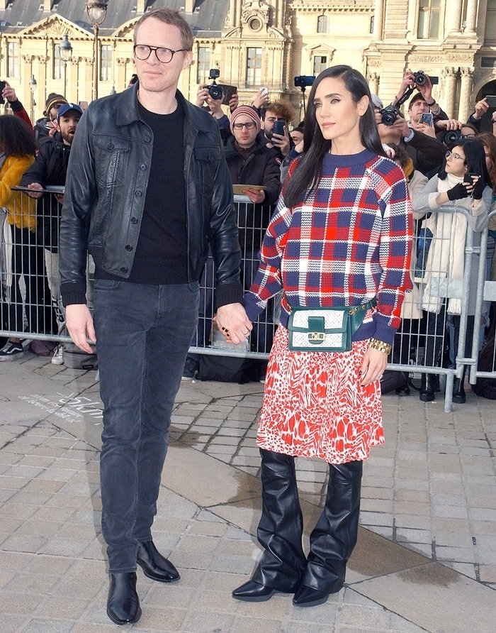 Paul Bettany and Jennifer Connelly attend the Louis Vuitton show as part of the Paris Fashion Week