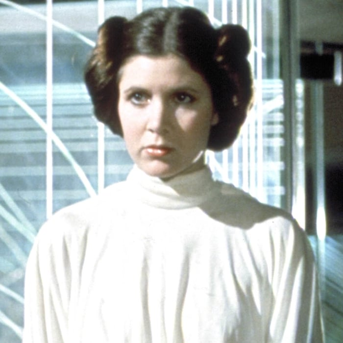 Actress Carrie Fisher has referred to Princess Leia's iconic hairstyle as cinnamon buns