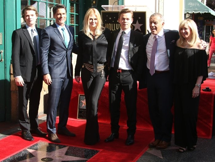 John Owen Lowe, Rob Lowe, Sheryl Berkoff, Matthew Edward Lowe, and Rob Lowe's parents, Barbara Lynn and Charles Lowe, at Rob Lowe's Star ceremony on the Hollywood Walk Of Fame