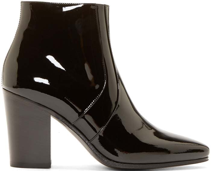 Saint Laurent Textured Leather French Ankle Boots in Patent
