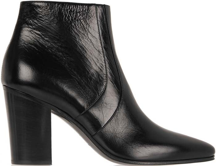 Saint Laurent Textured Leather French Ankle Boots
