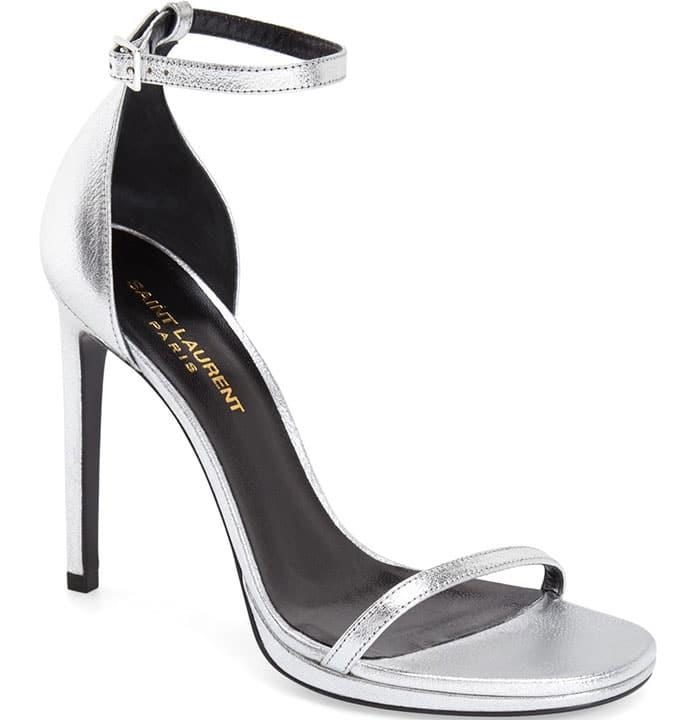 Saint-Laurent Jane Ankle Strap Sandals Silver