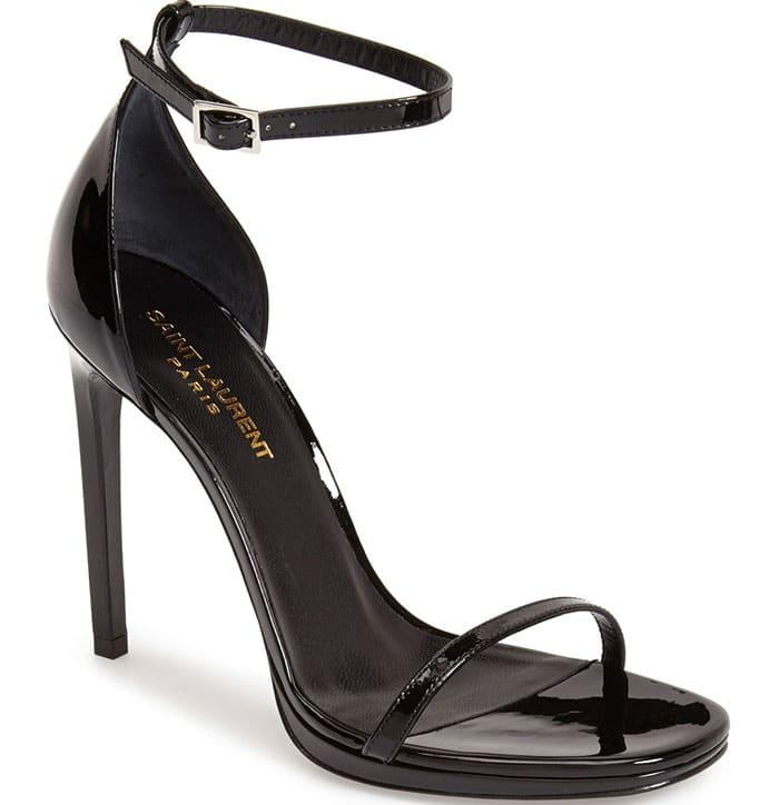Saint-Laurent Jane Ankle Strap Sandals Black Patent