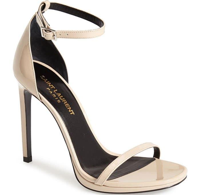 Saint-Laurent Jane Ankle Strap Sandals Nude