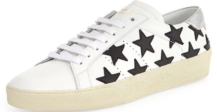 Saint-Laurent-Star-Embroidered-Leather-Sneakers