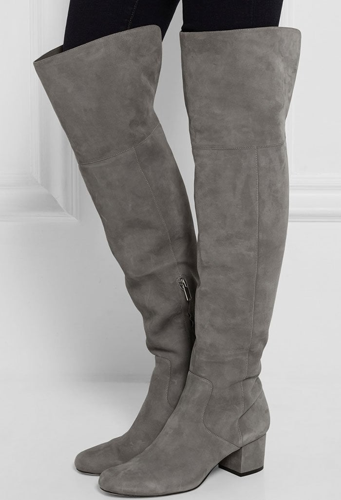 With a flattering leg-lengthening effect, over-the-knee boots are a key look for fall. Sam Edelman's Elina style is constructed from gray suede and set on an equally on-trend block heel
