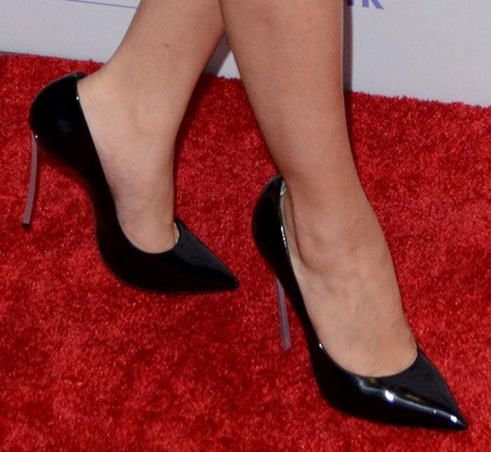 Selena Gomez's feet in Casadei pumps