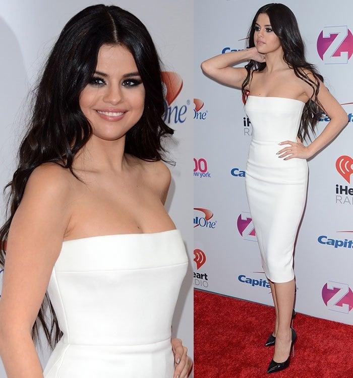 Selena Gomez wears a white Victoria Beckham sheath dress on the red carpet