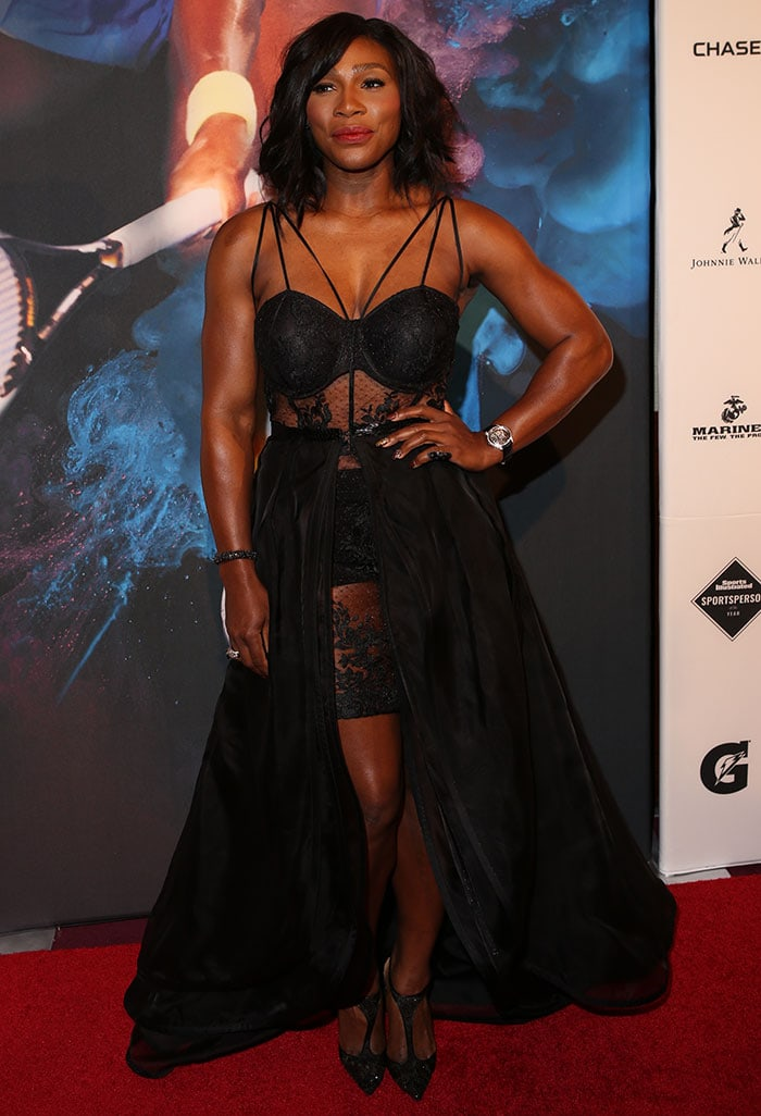 Serena Williams traded her tennis whites for a racy black dress that put her muscular body on display