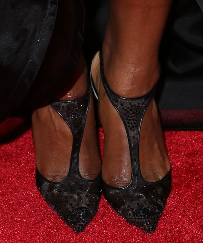 Serena Williams wearing Christian Louboutin 'Salopatina' 100 patent leather-trimmed embellished mesh pumps