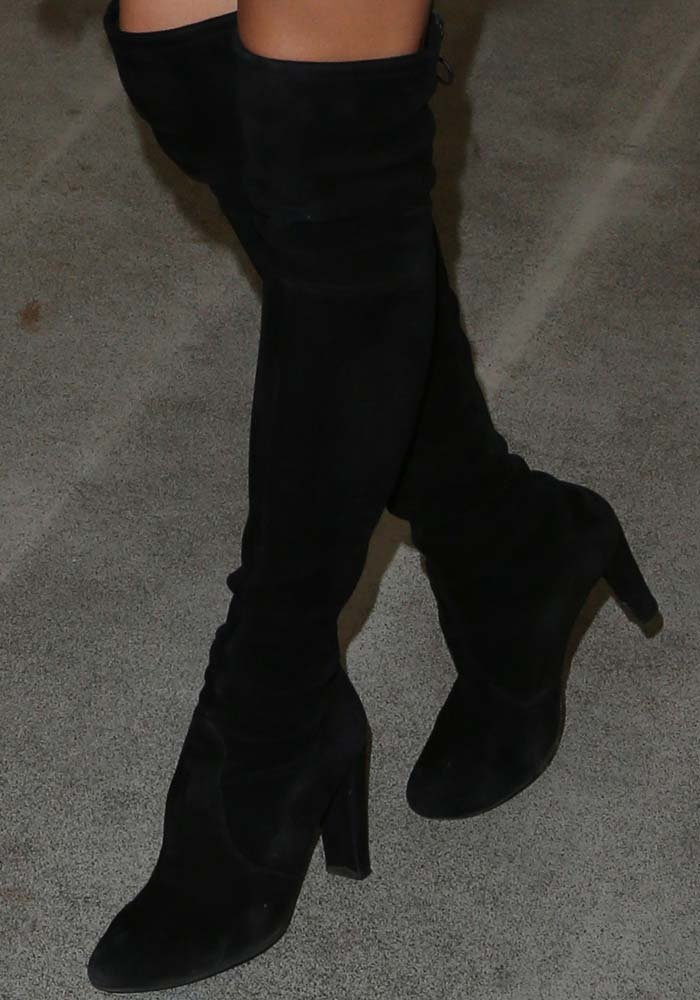 Shay Mitchell rocks Highland over-the-knee boots by Stuart Weitzman