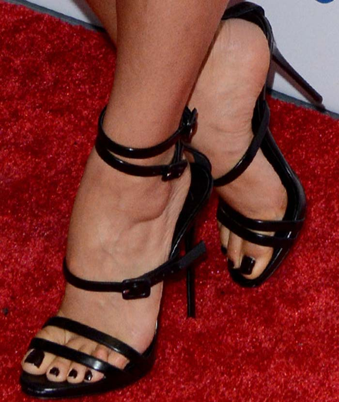 Shay Mitchell's feet in Giuseppe Zanotti sandals