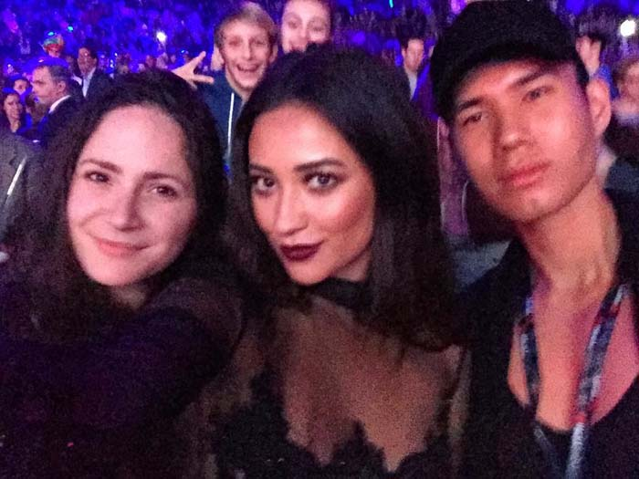 """Via Shay Mitchell's Instagram: """"Getting in the holiday spirit ... Thanks for having me Jingle Ball...! And thanks to the cutest photo bombers in the back 😜"""""""