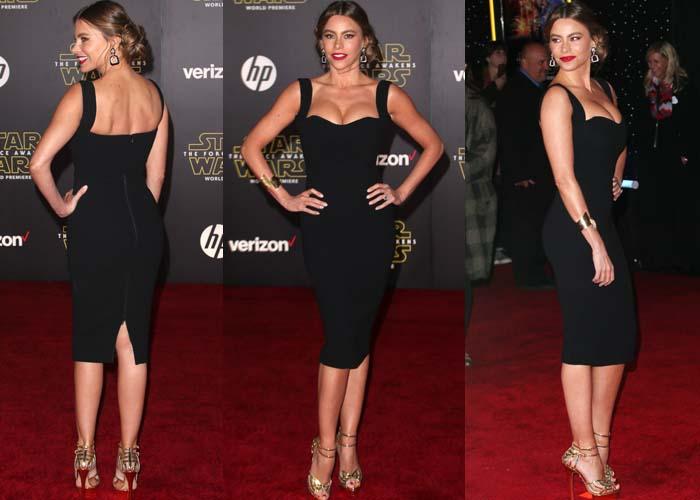 Sofia Vergara shows off her famous curves in a black Victoria Beckham dress