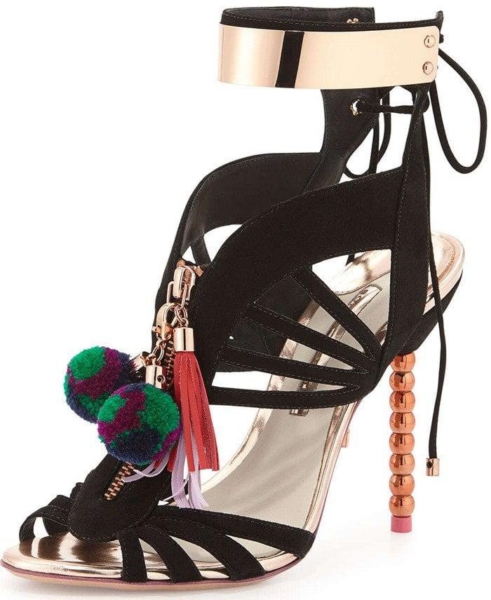 Sophia Webster Black Yasmina Leather Pom-Pom Sandals