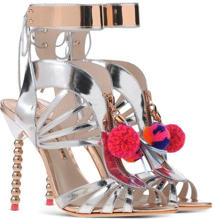Sophia Webster Silver Yasmina Leather Pom-Pom Sandals