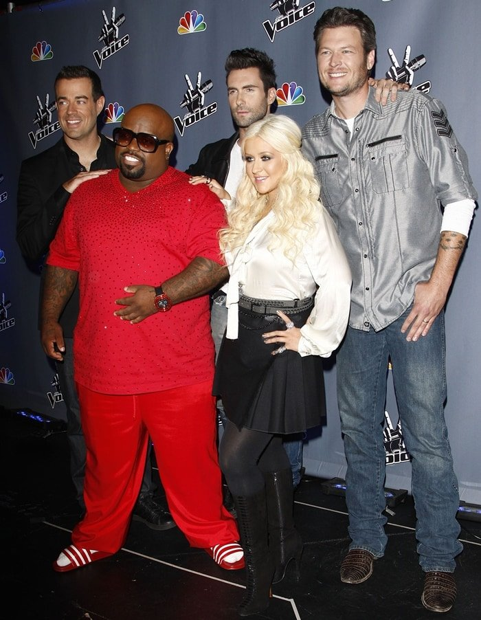 "The Voice's Carson Daly, Cee-Lo, Adam Levine, Christina Aguilera, and Blake Shelton pose at NBC's ""The Voice"" Press Junket"