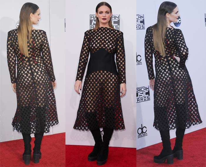 Tove Lo wears a nude thong and pasties underneath a black mesh dress on the red carpet