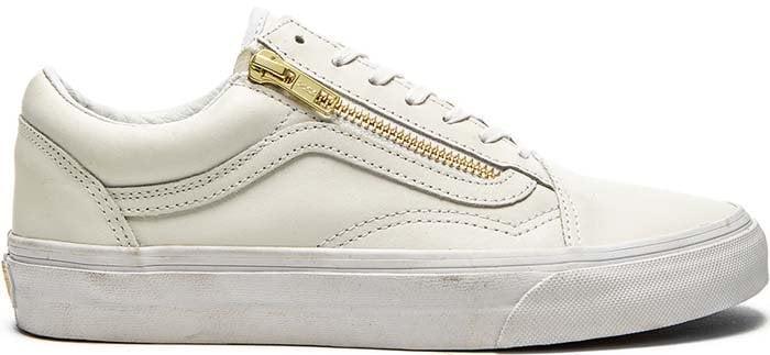 """Vans """"Old School"""" Zip Sneaker in True White/Gold"""