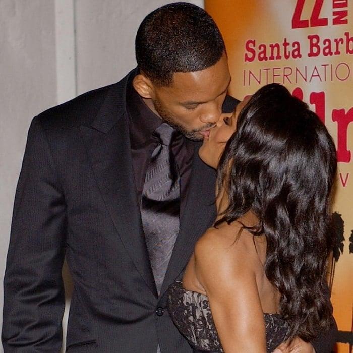 Will Smith and Jada Pinkett Smith kissing during the 22nd Annual Santa Barbara International Film Festival