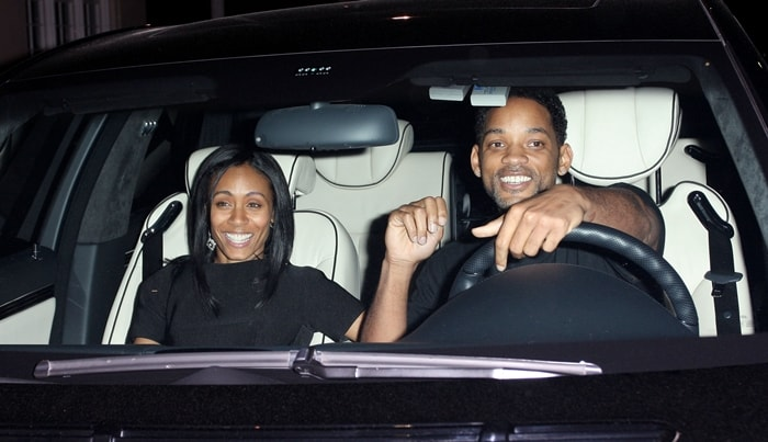 Will Smith and wife Jada Pinkett Smith leaving Wolfgang Puck's restaurant